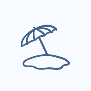 Beach umbrella vector sketch icon isolated on background. Hand d