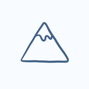 Mountain vector sketch icon isolated on background. Hand drawn M