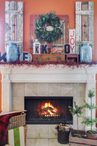 A warm fireplace creates a cozy atmosphere for the holidays.